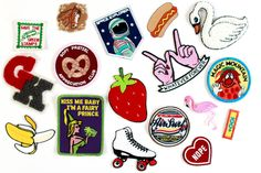 HOW TO DIY A DENIM PATCH JACKET + PATCH SHOPPING GUIDE - BY WEAR THE CANVAS Cute Patches, Pin And Patches, Sew On Patches, Denim Jacket Patches, Patched Jeans, Whatever Forever, Looks Jeans, Post Apocalypse, Step By Step Drawing