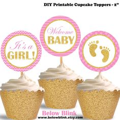 It's a Girl Cupcake Toppers Welcome Baby Printable