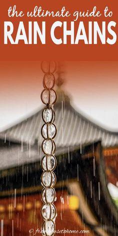 How To Make A Rain Chain, Rain Chain Diy, Rain Chains, Craftsman Exterior, Modern Exterior, Shade Loving Shrubs, Spring Clean Up, Perennial Ground Cover, Garden Frame