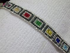 MultiColor Jewels on Crystal and Black by WovenBeadsBrowbands, $80.00