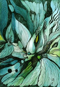Green and turquoise watercolor and ink flower doodle drawing by zzen on DeviantART Art And Illustration, Abstract Watercolor, Watercolor And Ink, Abstract Art, Plants Watercolor, Water Color Abstract, Abstract Nature, Watercolor Artists, Watercolor Pattern