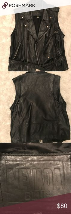 Badass Genuine Leather Biker Vest 100% Leather badass biker vest. Pair with black skinny moto jeans and some matching badass boots for a total chic badass look.  There is a small hole from the belt loop that can easily be fixed (view the picture) This vest no longer fits me so I will let the new owner of this awesome vest take care of it. Comes from a pet and smoke free home. Ask any questions! nevada blue Jackets & Coats Vests