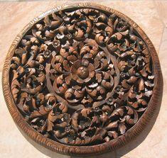 3' Round Teak Wood Panel