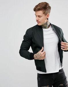 New Look Cotton Bomber In Dark Green