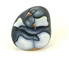 Adelie penguins - painted stone