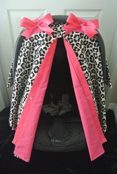 car seat canopy, car seat cover, cheetah, black, HOT PINK, polka dot, chevron, girly, bows, baby car seat, infant girl, baby, boy, zebra