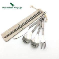Universal Titanium set Tourist Spoon /& Fork in Sheath,100/% Titanium Ultralight