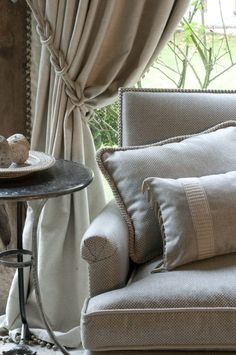 Need help with window treatments for your home? Let the designers at Ashley Carol Home & Garden assist you! Home Curtains, Curtains With Blinds, Burlap Curtains, Valances, Window Coverings, Window Treatments, Window Styles, Curtain Designs, Home And Deco