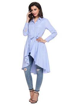 Stylish Pink Striped Lapel Shirt Belted Her Fashion Blouse Top – HisandHerFashion.com Light Blue Blouse, Girls Blouse, Chic Dress, Blouse Styles, Shirt Blouses, Sleeve Styles, Blouses For Women, Shirt Style, Long Sleeve Shirts