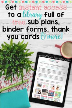 FREE SUB PLANS, FREE SUB BINDER, FREE SUBSTITUTE THANK YOU CARDS, AND MORE! There are tons of free teaching resources in the Free Teacher Resource Library. Sign up today and get instant access!
