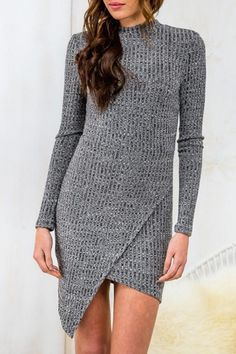 Elegant Stand Collar Hollow Long Sleeve Dress For Women
