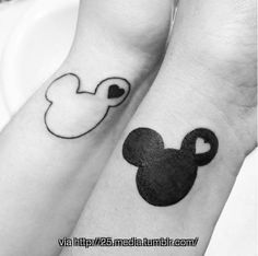 love the outline of the Mickey Ears. Tatoo - His  Hers Tattoos