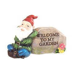 Fairy Garden Resin Gnome On Rock