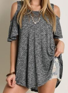 This cold shoulder knitted tunic top is super soft and comfortable! Style this flowy top with shorts or jeans and accessorize it with a fun hat for a bohemian look. Available in Plus Size.