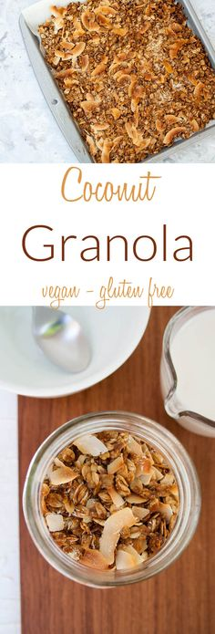 Coconut Granola (vegan, gluten free) - This recipe will whisk you away to the tropics! It is packed with coconut flavor, is easy to make and cheaper than store bought! Gluten Free Recipes For Breakfast, Dairy Free Recipes, Brunch Recipes, Vegan Gluten Free, Real Food Recipes, Vegan Recipes, Snack Recipes, Coconut Recipes, Vegan Foods
