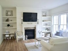 Image result for ship lap and stone fireplace