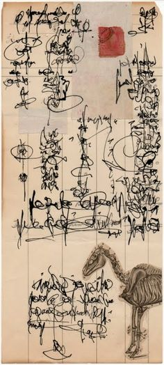 Palimpsest asemic correspondence, by Cecil Touchon (collage and ink on 1920's bank statement)