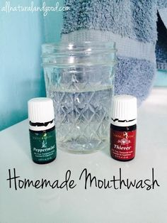 This all natural homemade mouthwash is made with only natural ingredients. No blue dyes or chemicals here! Young Living Oils, Young Living Essential Oils, Homemade Mouthwash, Oils For Life, Diy Beauty Treatments, Homemade Beauty Products, Vegan Products, Easy Homemade Recipes, Spa