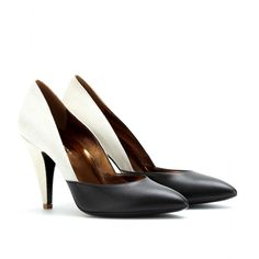 POINTY-TOE TWO TONE LEATHER PUMPS seen @ www.mytheresa.com