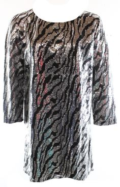 Tildon NEW Black Silver Women's Size Large L Sequin Shift Dress $88 DEAL
