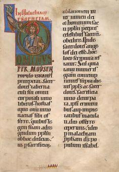 13th century illuminated manuscript, the beginning of the Book of Malachi featuring Christo Pantokrator.