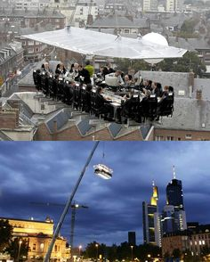 Dinner in the Sky. This is so crazy. You are strapped in to your chairs on a platform that has one big connected dinner table and up to 5 servers in the middle and then it is suspended in the air from a crane! They can even suspend entertainment from another crane, like a band or a guy playing piano. http://www.dinnerinthesky.com/index.php  You can even get married up there!