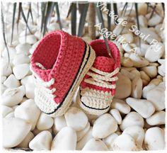 Crochet Unisex Baby Sneakers - 100 % organic cotton  https://www.facebook.com/vintagesoulknitsandcrafts