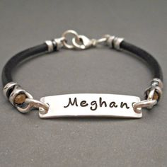 Personalized Leather Bracelet Nameplate Jewelry Silver Bar I D Gift For Daughter S