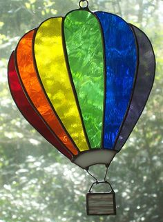 Hot Air Balloon Paintings | ... More Stained Glass Rainbow Hot Air Balloon – ArtworkByCaroline.com