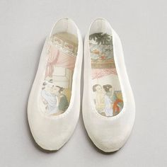 """A bit of art inspo for your Saturday morning courtesy of @museumofbrisbane's current exhibition: INK REMIX: Contemporary art from mainland China, Taiwan and Hong Kong. """"Good Things Come in Pairs – no. 5, 2011-13, Peng Wei. Silk shoes with painted insoles. I find this idea of the delicate exterior and beautiful markings on the often hidden, functional part of the object, just SO beautiful and inspiring. All you makers out there, go forth! And Brissie people, let's go and see these in real…"""
