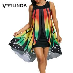 Womens Front Slit Butterfly Shape Dress Novelty Straight O Neck Sleeveless Mini Short