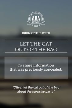 "English #idiom ""Let the cat out of the bag"" means to share information that was previously concealed. #speakenglish"