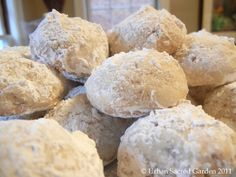 Grandma's Mexican Wedding cookies - they just melt in your mouth !    2 cups of flour  1 cup of butter soften  1 cup of chopped pecans  mix and roll into balls then bake for 30 min. at 350 roll into powdered sugar   These can be saved for a long time in the refrigerator ~