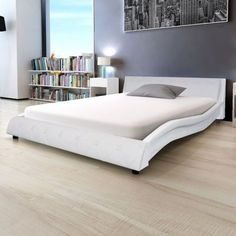 White Leather Double Bedstead Chesterfield Upholstered Bed Frame Home Furniture