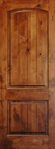 Knotty Alder 8' V-Groove Arch 2-Panel Wood Interior Door. Yep, exactly the doors I want inside. Matches my front door.
