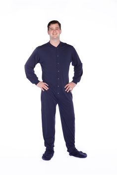 8f093d3303 Big Feet Pajamas navy blue jersey knit footed pajama is a favorite with  both men and