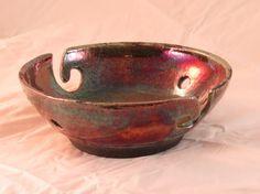 Raku Yarn Bowl Stone Penguin Pottery by timrstout on Etsy, $22.00