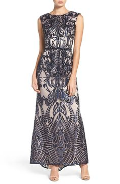 Vince Camuto Embroidered Sequin Mesh Gown available at #Nordstrom