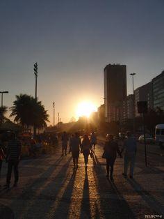 Walking For Light - PU1JFC ™ © Copacabana Beach, Walking, Celestial, Sunset, Outdoor, Landscapes, Sunsets, Outdoors, Walks