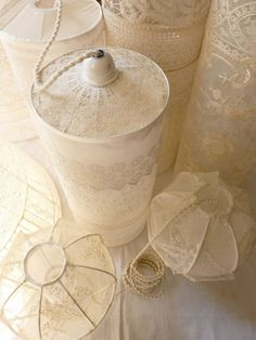 vintage lace-covered lamps