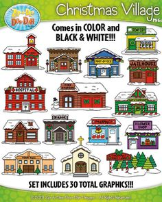 Christmas Village Community Buildings Clipart Set  Includes 30 Graphics!You will receive 30 clipart graphics that were hand drawn by myself  15 Colored Graphics and 15 B/W Outlined Graphics. Images are large enough for you can use bulletin boards or you can scale down for units or homework.