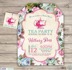 Bridal Tea Bridal Shower Printable Invitations Theme Party Rustic Modern Download Invitations pdf jpeg Pink Tea Party Bridal Tea Flowers Hat