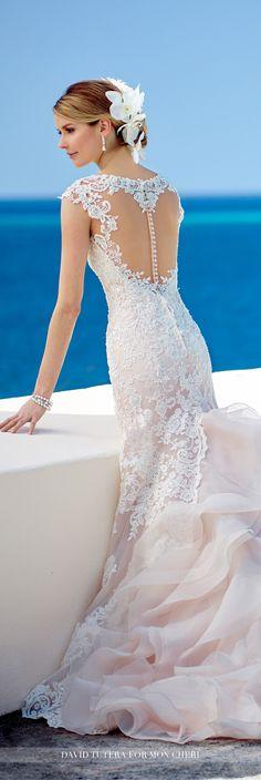 David Tutera for Mon Cheri Fall 2016 Collection - Style No. 216251 Mora - cap sleeve lace wedding dress with organza ruffled back skirt