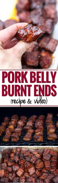Smoked Pork Belly Burnt Ends Smoked BBQ Pork Belly Burnt Ends (recipe and video). Inspired by beef burnt end, this pork version is super tender, full of flavor and so easy to make. Pork Belly Burnt Ends, Pork Belly Recipes, Chicken Recipes, Good Food, Yummy Food, Best Bbq Food, Smoking Recipes, Smoking Food, Bbq Pork
