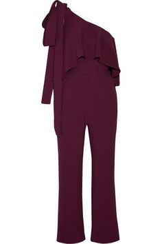 Elie Saab - One-shoulder Ruffled Stretch-crepe Jumpsuit - Grape - FR