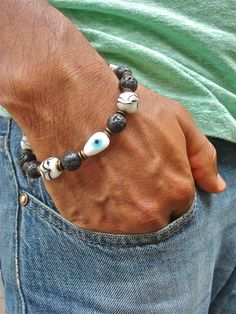 Men's Spiritual Evil Eye Protection and Courage by tocijewelry