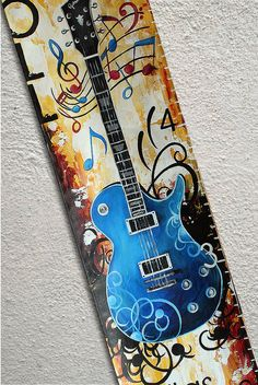 Canvas Growth Chart Custom Guitar Musical by SweetDreamMurals, $70.00