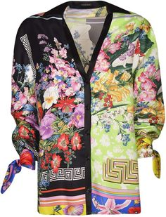 Shop Versace Classic Floral Cardigan and save up to EXPRESS international shipping! Madrid, Floral Cardigan, Open Front Cardigan, Unique Outfits, Cuff Sleeves, Day Dresses, Versace Versace, Supermodels, Cool Style