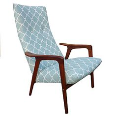 mid century danish lounge chair reupholstered with fabric from lotus bleu