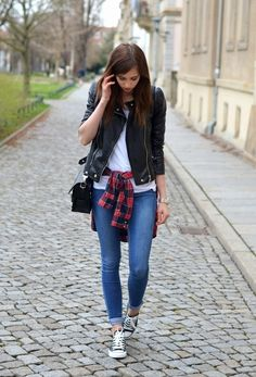 women/looks/jacket-and-crew-neck-t-shirt-and-button-down-shirt-and-crossbody-bag-and-skinny-jeans-and-low-top-sneakers.  — Black Leather Jacket  — White Crew-neck T-shirt  — White and Red and Navy Plaid Button Down Shirt  — Black Leather Crossbody Bag  — Blue Skinny Jeans  — Black and White Low Top Sneakers